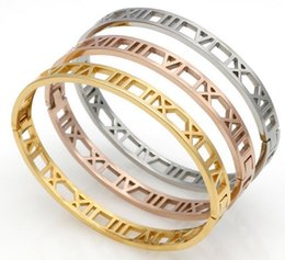 Wholesale Roman Gold Bracelet - Delicate Hollow Roman Numeral Bracelets & Bangles Titanium Steel Bangle Fine Jewelry For Women Vacuum Plating Bangle Top Quality