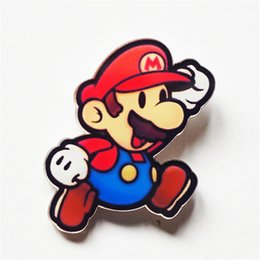 Wholesale Kawaii Jewelry - MOQ=20pcs Free Shipping Kawaii Cartoon Super Mario Brooch Pins Acrylic Badge Packback Clothes Wrap Icon Broaches Pin For Jewelry Gifts