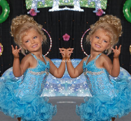Wholesale Glitz Pageant Dresses Ritzee Girls - Light Sky Blue Short Glitz Little Girl's Pageant Dresses for Teens with Halter Crystal Sugars Toddler Kids Ritzee Girl Cupcake Gowns 2016
