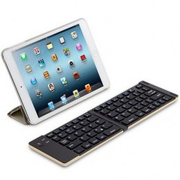 Wholesale Thin Foldable Keyboard - F66 Mini Wireless Bluetooth Folding Keyboard Portable Ultra thin Foldable aluminum Meterial Keyboard for iOS Android Smartphone iPad Tablet