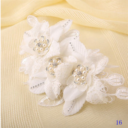 Wholesale Beaded Flower Embellishment - Wholesale-Vintage Head Embellishments with Pearls 2016 Flowers Hairpins Wedding Hats Beaded Handmade for Brides Wedding Accessories