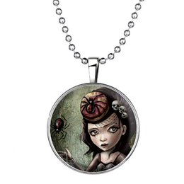 """Wholesale Girls Spider Jewelry - Halloween Jewelry Accessory Glow-in-the-Dark Spiny Spider And Girl Pendant Necklace Silver Tone Necklace, 23.6""""inches 1152N78"""