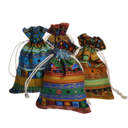 Wholesale Tibet Supplies - Tibet Stripe Linen Gift Bags Travel Organizer Storage Bag Vintage Jewelry Drawstring Pouch Free Shipping wen4344