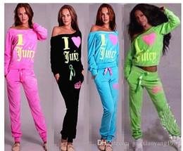Wholesale Womens Velour Sets - 2016 hot sale women hoodies sweatshirts suits sexy strapless velour tracksuit womens LOVE print long sleeve sport sweat suit set