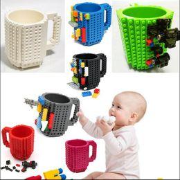 Wholesale Light Building Bricks - DIY Building Blocks Coffee Cup Block Mugs 350ML Brick Creative Mug Drink Cup 10 Colors 300pcs OOA3107