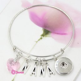 Wholesale 18mm Letters - New Arrival Interchangeable Pink Crystal Heart Initial Letter Love NANA Wire Expandable 18mm Snaps Bangles Bracelets for Valentine