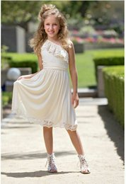 Wholesale Tutu Dress One Shoulder - Hot Sale Baby girl one-shoulder lace princess party dress 2017 european style kids lace wedding full dress