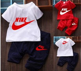 Wholesale New Suits For Boys - 2016 Summer New Style Children's Clothing For Boys And Girls Sports Suit Baby Infant Short Sleeve Clothes Kids Set 1-6 Age