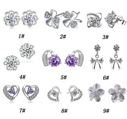 Wholesale Quality Style Jewelry - 30% 925 Sterling Silver Stud Earrings For Women Cut Swiss Austria Diamond Crystal Style Silver Earring High quality Jewelry Free Shipping
