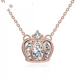 Wholesale Cheap Crown Pendants - 18K ROSE-GOLD CROWN CHOKER statement necklaces for women.s cheap factory jewelry