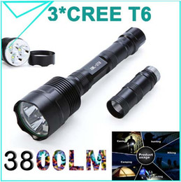 Wholesale Trustfire Led Flashlights - 100% Original Trustfire 3800 Lumens 3*CREE T6 LED Flashlight 5Modes Waterproof Torch Zoomable Linternas Light for 2 or 3 x18650 Super bright