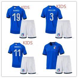 Wholesale Italy World Cup Jerseys - NEW Italy 2018 World Cup kids Kits Home Youth Jersey 17 18 Bonucci Verratti Chiellini INSIGNE Belotti Jerseys Italy KIDS Football Uniforms