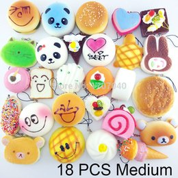 Wholesale Bread Mixes - Wholesale-18PCS Medium Random Squishy Soft Panda Bread Cake Buns Macaroon Phone Straps Key Chains Mixed