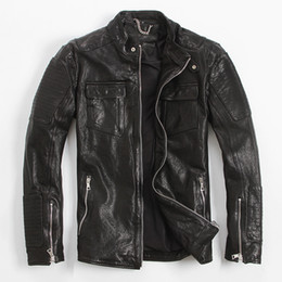 Wholesale Men S Real Leather Jacket - FREE SHIPPING 2017 Men Black Genuine Italian Leather Jackets Stand Collar Real Sheepskin Short Casual Leather Coat Factory Direct Size XXXL