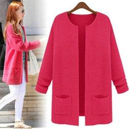 Wholesale Cardigan Big Size - Autumn Winter Japan Style women Knit Cardigan Sweater candy solid color yellow red Cute Student girl Casual Loose big free size big pocket