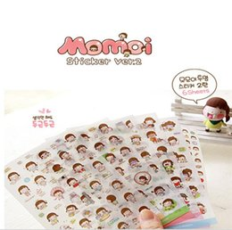 Wholesale Girs Set - South Korea stationery wholesale han edition cute momoi girs becomes the set transparent stickers stickers diary 6 pieces sets