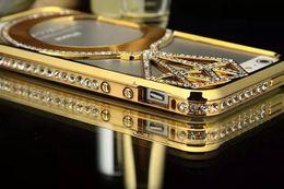 Wholesale Iphone Covers Aluminium Chrome - Luxury Diamond Bling Rhinestone Bumper Aluminium Metal Hard Chrome Frame Case Cover For iphone 5 5S 6 4.7 5.5 inch