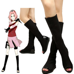 Wholesale Top Anime Cosplay Costumes Female - TOP Sale Naruto Hurricane Mugen Sakura Haruno Cosplay Black Jackboots For Female Custom Made