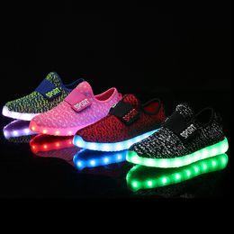 Wholesale Dmx White Led - USB Kids LED Shoes Summer Mesh Fashion LED Sneakers Children's Breathable Sport Lighted Luminous Boys Girls Shoes YZX