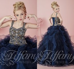 Wholesale Black White Flower Organza - Little Girls Pageant Dresses wear 2016 Dark Navy Straps Crystal Beaded Lace Up Formal Party Dresses for Teen Kids Flowers Girls Gowns