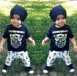 Wholesale Children Guitars Wholesale - Summer Ins Infant Baby Set Boys Cartoon Transformers Black Tops T-shirt + Guitar Pants 2pcs Children Outfits 12092