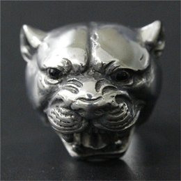 Wholesale Silver Head Bands - 3pcs lot New Design Silver Huge Leopard Head Ring 316L Stainless Steel Fashion jewelry Hot Selling Leopard Ring