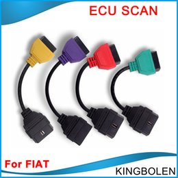 Wholesale Fiat Ecu Scan - For Fiat Ecu Scan full set 4 Adaptors For Fiat Connector OBD2 16Pin OBD Diagnostic Cable for Fiat Four Colors DHL Free Shipping