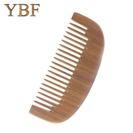Wholesale Golden Teeth - YBF NEW FASHION Wide Tooth Antistatic THICKENING Wooden Golden Green Tan Combs Comfortable Feel Hairbrush Hair Styling FOR Women