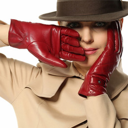 Wholesale Womens Lambskin Leather - Sale Thicken Warm Winter Gloves Wrist Fashion Solid Touchscreen Glove For Womens Lambskin Real Genuine Leather Sheepskin L121nc