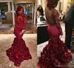 Wholesale Tulle Rose Dresses - 2018 Burgundy Mermaid Prom Dresses With Rose Floral Flowers Sheer Backless Evening Gowns Appliqued Lace Long Sleeves Plus Size Party Gown