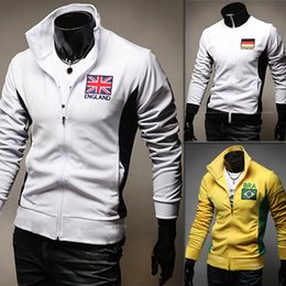 Wholesale Flannel Clothes - New Sport Sweatshirt The 2016 Brazil World Cup flag embroidery color Hoodies slim men white cardigan Sweatshirt Mens Clothing