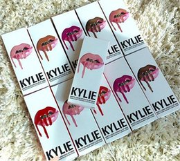 Wholesale Lip Gloss Making Kit - 2016 Hottest American Kylie Lip Kit by kylie jenner Lipstick Kylie Lip Gloss liquid lipstick Matte 12 colors lipliner Make up Cosmetic