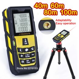 Wholesale Laser Meter Distance - Yellow Laser Distance Meter Handheld Level Rangefinder Measure Area Volume 131ft (40m)  196ft (60m)  262ft (80m)  328ft (100m)