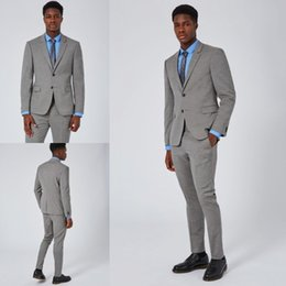 Wholesale Cheap Checked Pants - Handsome Gray Men White Wedding Suit High Quality Slim Fit Bridegroom Tuxedos Cheap Groomsmen Suit 2 Pieces Formal (jacket+pants)Bow Tie