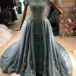2019 cristal de rocha azul Longo Plus Size Rock Azul Elegante Lace Applique Cristal Mangas Curtas Prom Vestido de Luxo Vestidos Formais para As Mulheres Árabes Vestidos de Noite cristal de rocha azul barato