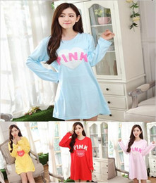 "Wholesale Sexy Winter Nightgowns - Wholesale-2015 HOT Cozy Autumn Winter sleepwear Women's fashion Breathable Long sleeve Nightgowns ""PINK"" printing Elasticity"