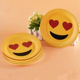 Wholesale Wholesale Party Paper Plates - Emoji Paper Plate 9 Inch Expression Disposable Paper Tableware Dining Plates Party Plates Party Supplies OOA2734