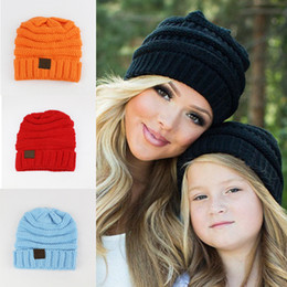 Wholesale Roses Crochet - Hot Children CC Beanie Knitted Hats Mother child 7 colors Winter warm Crochet Outdoor hat 2017 Pink Black beige Yellow Rose
