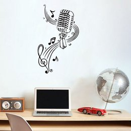 Wholesale Music Vinyl Wall Art - Wall Vinyl Sticker Decals Mural Room Design MICROPHONE Music Notes Hair bar Wall Stickers home decor diy poster paper 50*85 cm