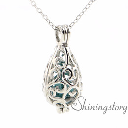 Wholesale Silver Pendant Stone - teardrop openwork essential oil necklace diffuser necklace wholesale perfume necklace aromatherapy jewelry diffusers metal volcanic stone