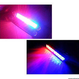 Luces estroboscópicas de emergencia rojas online-New Styling 8 LED Rojo / Azul Police Strobe Flash Light Dash Emergencia 3 Parpadea las luces de niebla