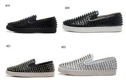 Wholesale White Silver Colors Platform - 2017 wholesale Many Colors - Luxury Brand Spikes Red Bottom Sneakers Loafer Platform Sneaker Men Shoes Slip On Walking Party 39-47 free sh