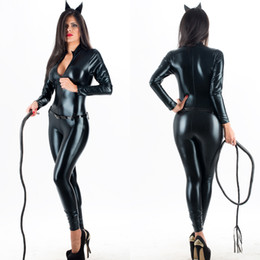 Wholesale Catsuit Zip - Top Quality Sexy Halloween Catwoman Costume Black Zip Front Vinyl Catsuit Wet Look Latex Faux Leather Jumpsuit with Belt W207961