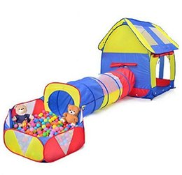 Wholesale Outdoor Play Kids - 2016 Indoor Outdoor Kids Playhouse Adventure Play Tent Tunnel Pool 3 Pieces Set (Ball Is Not Include) E604E