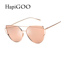 beam sunglasses Promo Codes - New Women Cat Eye Sunglasses Fashion Women Brand Designer Twin-Beams Coating Mirror Sun glasses Female Sunglasses
