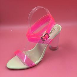 Wholesale Modest Heels - Kim Kardashian Real Bridal Wedding Shoes Pink Buckle Strap Through Chunky Heel Plus Size Custom Summer Style PVC Sandals Shoes Cheap Modest