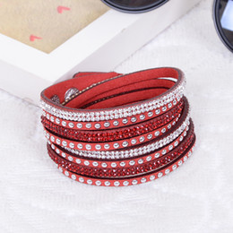 Wholesale Party Sparkles - Fashion Multilayer Wrap Bracelet Rhinestone Slake Deluxe Leather Charm Bangles with Sparkling Crystal Wristband Women Christmas Gifts
