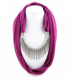 Wholesale Women Scarf Metal Pendant - Bohemia Brand Metal Rivet Scarf necklace Women fashion Tassel pendant necklace Scarf jewelry vintage Ethnic accessories