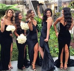 Wholesale Winter Velvet Wedding Dress - 2016 New Sweetheart Black Velvet Long Bridesmaid Dresses Mermaid Split Wedding Party Bridesmaid Dresses