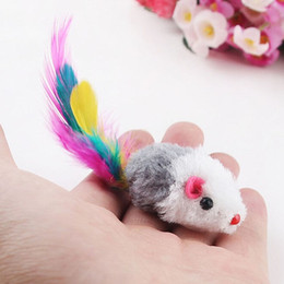 2021 queues de souris 10pc Intéressant Pet Cat Hamster Jouer Catch Toy Faux Furry Mouse Plume Tail # T701 queues de souris pas cher